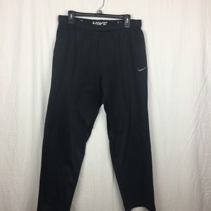 Nike black cotton/nylon black sweats- L